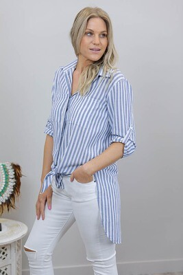 Boardwalk Cotton Must Have Shirt - Denim Stripe