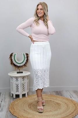 Rhythm Knit Midi Skirt - White
