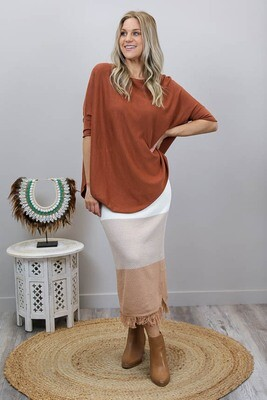 Rose Knit Top - Rust