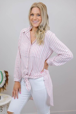 Boardwalk Cotton Must Have Shirt - Flamingo Stripe