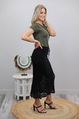Rhythm Knit Midi Skirt - Black