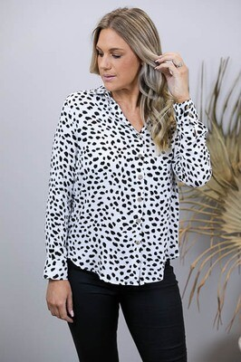 Rock U Basics Rayon Button Shirt - White/Black Splodge