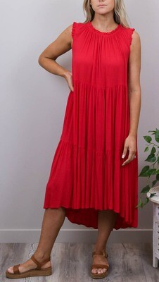 Bam Bam Frill Top Tier Midi Dress - Red