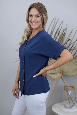 Candid Linen Blend Diag Button S/S Top - Navy