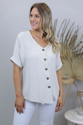 Candid Linen Blend Diag Button S/S Top - Natural