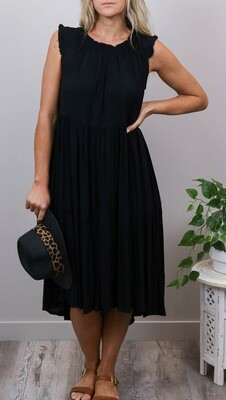 Bam Bam Frill Top Tier Midi Dress - Black
