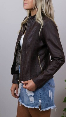 Binky Biker PU Leather Jacket - Chocolate