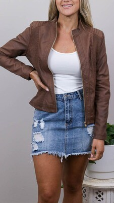 Binky Biker PU Leather Jacket - Tan