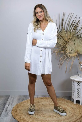 Absolutely Fabulous Fray Shirt/Dress - White