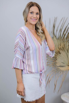 Lady Luck Button Frill Sleeve Tie Shirt - Rainbow Multi