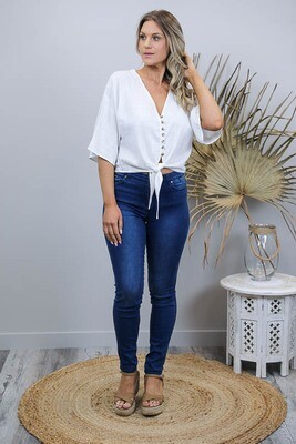 Lovely Lady Button Tie Top - White