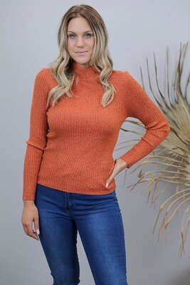 Back To Basics Rib Jumper - Orange Rust