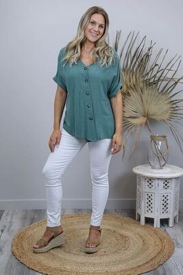 Candid Linen Blend Diag Button S/S Top - Jade