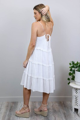 Beach Babe Singlet Tier Midi Dress - White