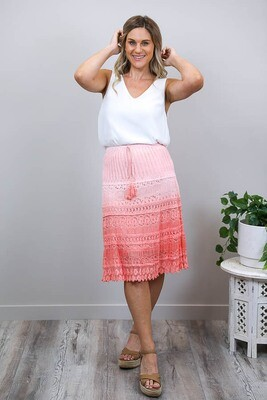 Candy Crochet Midi Skirt - Peachy Pink