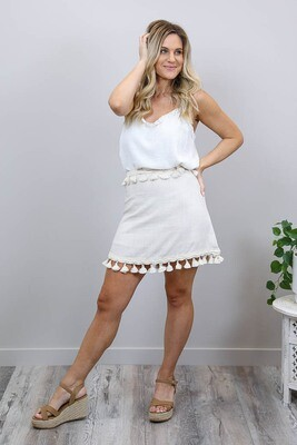 Byron Tassel Mini Skirt - Natural