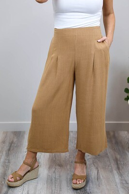 Candid Linen Blend Culotte Pants - Chestnut Brown