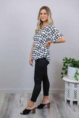 Betty Button Back Cotton Blend Top - Black Abstract