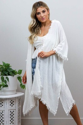 Beach Babe Cover Up Fray Cape - White