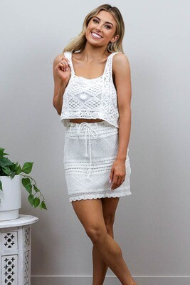 Frankie Festival Crochet Crop Top - White