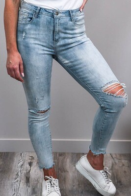 Nulla Nulla Rip Fray Jeans - Light Denim