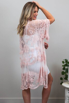 Summer Loving Lace Cape - Blush