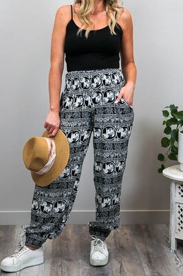 Harem Pants - Black/White Elephant
