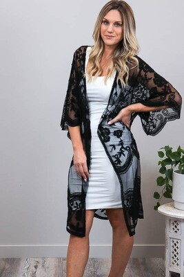 Summer Loving Lace Cape - Black