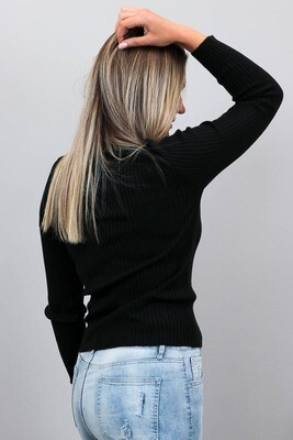 Back To Basics Rib Jumper - Black