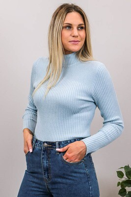Back To Basics Rib Jumper - Light Blue Denim