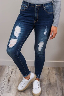 Millie Rip Fray Jeans - Dark Denim
