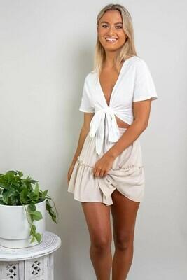 Brooke Ruffle Mini Skirt - Latte
