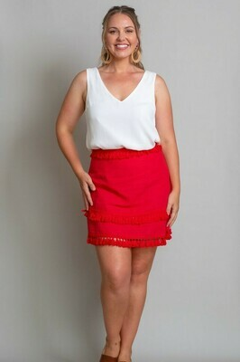 Byron Fringe Skirt - Red