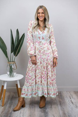 Chateau L/S BoHo Maxi Dress - White/Pastel Floral