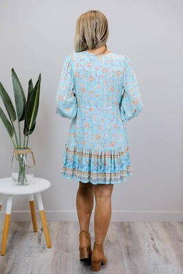 Chateau L/S BoHo Mini Dress - Blue/Tan Bloom