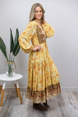 Chateau L/S BoHo Maxi Dress - Mustard/Rust Fleur