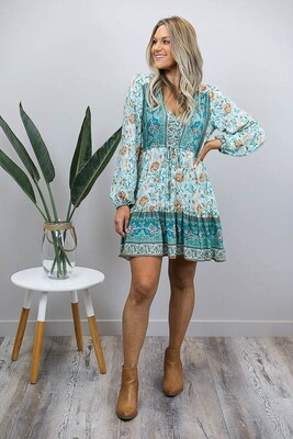 Chateau L/S BoHo Mini Dress - Jade/Rust Bloom