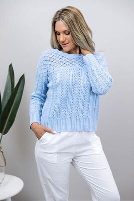 Lavish Detail Knit Jumper/Top - Cornflower Blue
