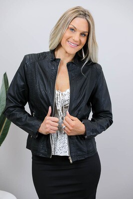 Binky Biker PU Leather Jacket - Black