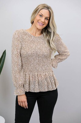 Blanche Shirred Frill Top - Coffee/Tan Smudge