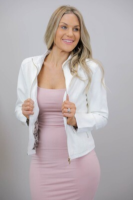 Binky Biker PU Leather Jacket - White