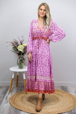 Chateau L/S BoHo Maxi Dress - Pink/Rust Bloom