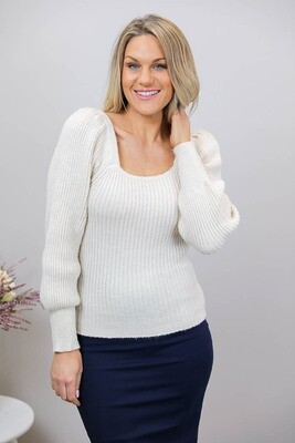 Gondola Puff Sleeve On/Off Shoulder Jumper - Latte
