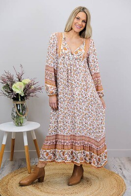 Challet L/S BoHo Midi Dress - Ivory/Rust Bloom