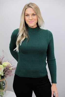 Rhonda Rib Detail Jumper - Pine Green