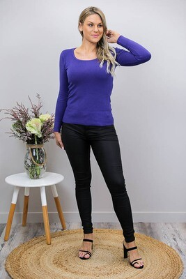 Lisa Basic Scoop Neck Jumper - Purple