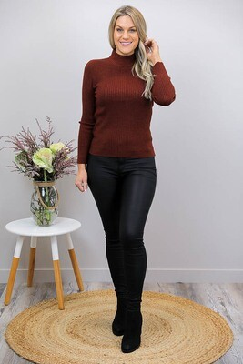 Back To Basics Rib Jumper - Brown Rust