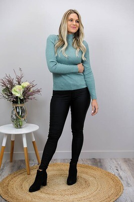 Back To Basics Rib Jumper - Sage Green
