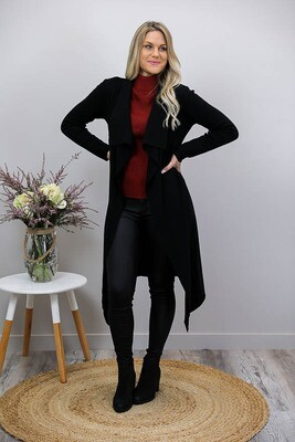 Casey Collar Knit Long Cardigan - Black