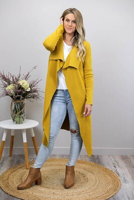 Casey Collar Knit Long Cardigan - Mustard